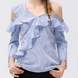 stripe buttoned cold shoulder light blue and white